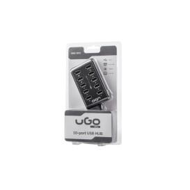 UGo UHU-1012 HUB ROZDZIELACZ USB 2.0 UGO 10 PORTÓW AKTYWNY Z WŁĄCZNIKIEM+ZASILACZ