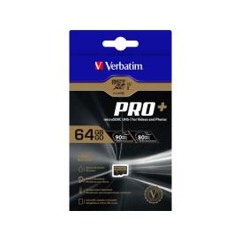 Verbatim 44034 KARTA PAMIĘCI VERBATIM MICRO SDXC PRO+ 64GB CLASS 10 UHS-3 + ADAPTER SD