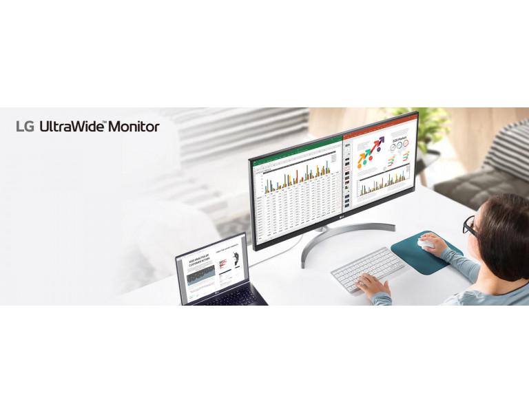 Monitory LG UltraWide to ergonomia, komfort i wygoda w pracy na obrazie.